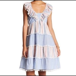 NWT $175 Romeo + Juliet Blue Pom Poms Dress L